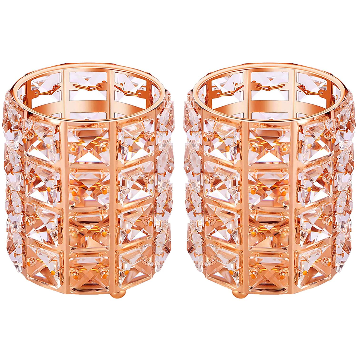 2 Pack Crystal Brush Holders, Rose Gold Party Decorations Bedroom Decor for Women Party Supplies Wedding Decor Room Organization Small Basket Bedroom Accessories Family Wall Decor(Rose Gold)