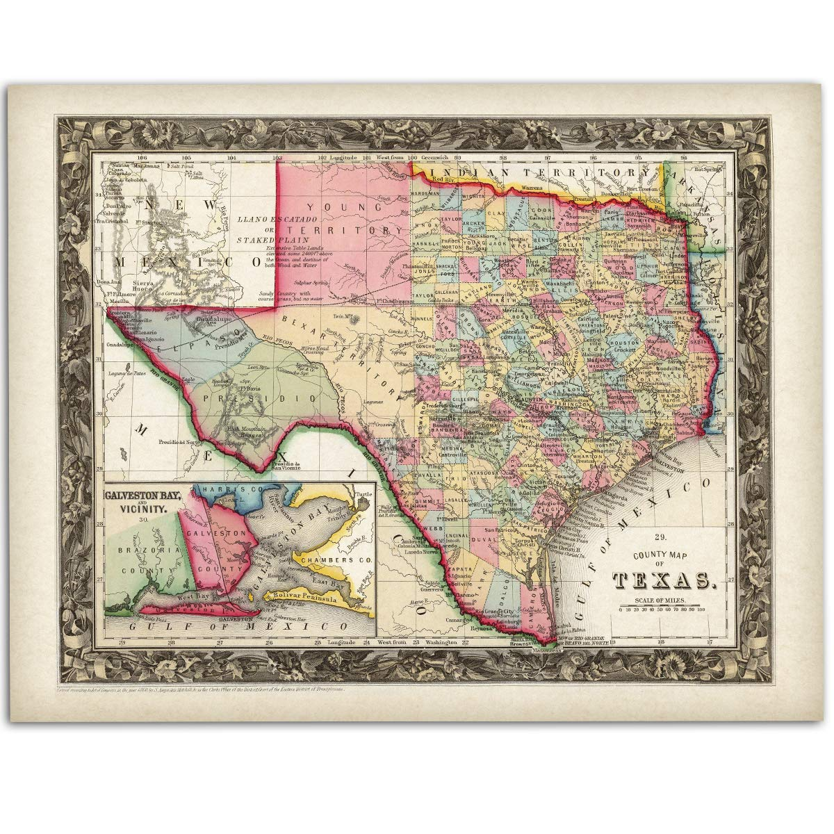 Amazon.com: County Map of Texas - 11x14 Unframed Art Print ... on location of rosenberg texas, major aquifers of texas, google austin texas, american bank of texas, the annexation of texas, geographic center of texas, dallas texas, relative location of texas, geographical id texas, city of rosenberg texas, temperature austin texas, missions of texas, city of manor texas, austin city limits map texas, lakes of texas, 3d physical map texas, printable maps north texas, is there desert in texas, black and white state of texas, stuff about texas,