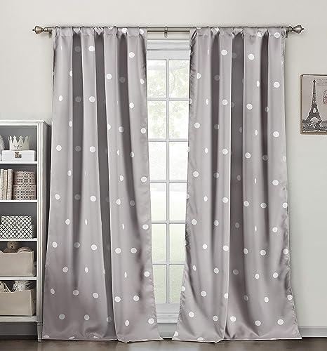 Lala Bash Dottie Blackout Curtains, Grey