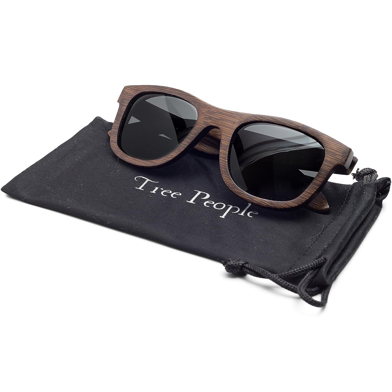 27e68e8036fd Amazon.com: Wood Sunglasses for Men and Women - Polarized Bamboo Wayfarer  with Wooden Case: Clothing