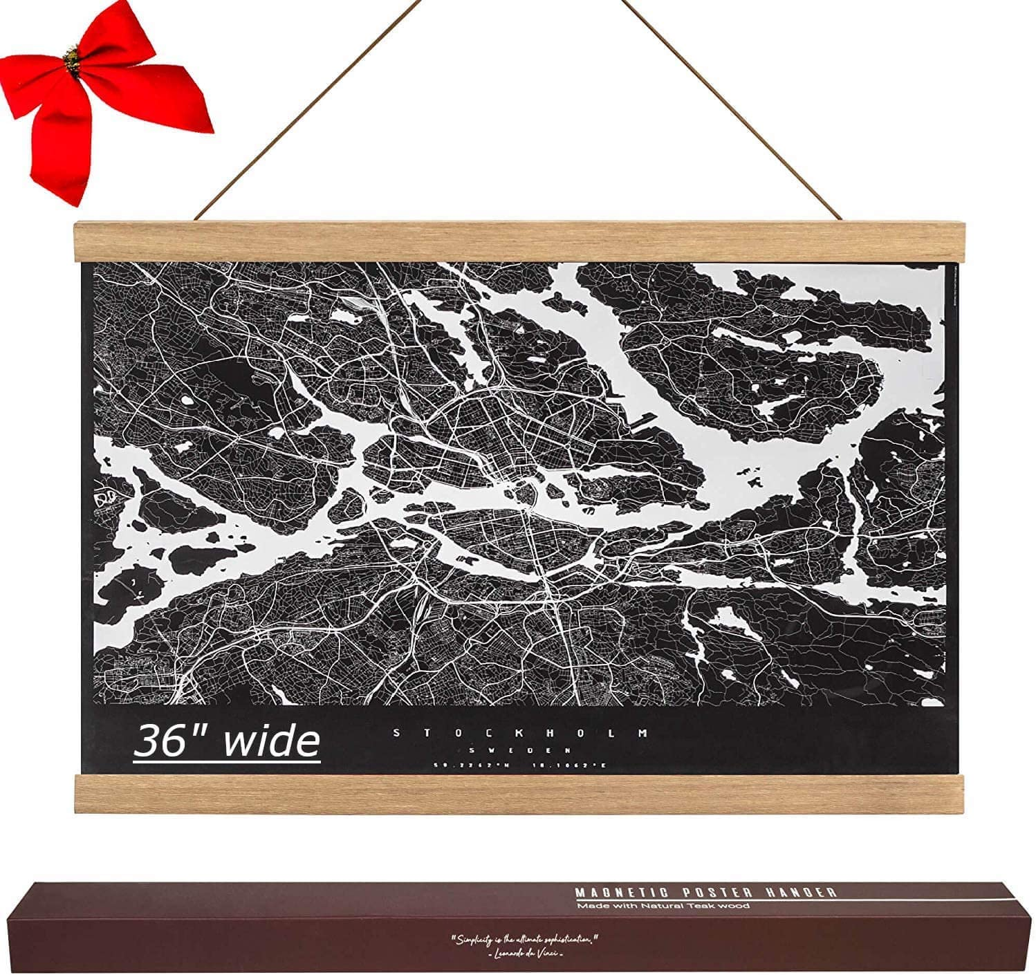 """36"""" Wide Magnetic Poster Hanger Frame 36x48 36x24 36x12 Easy Hanging Wood Frame for Wall Art Picture Canvas Print Scroll Map (36"""", Teak)"""