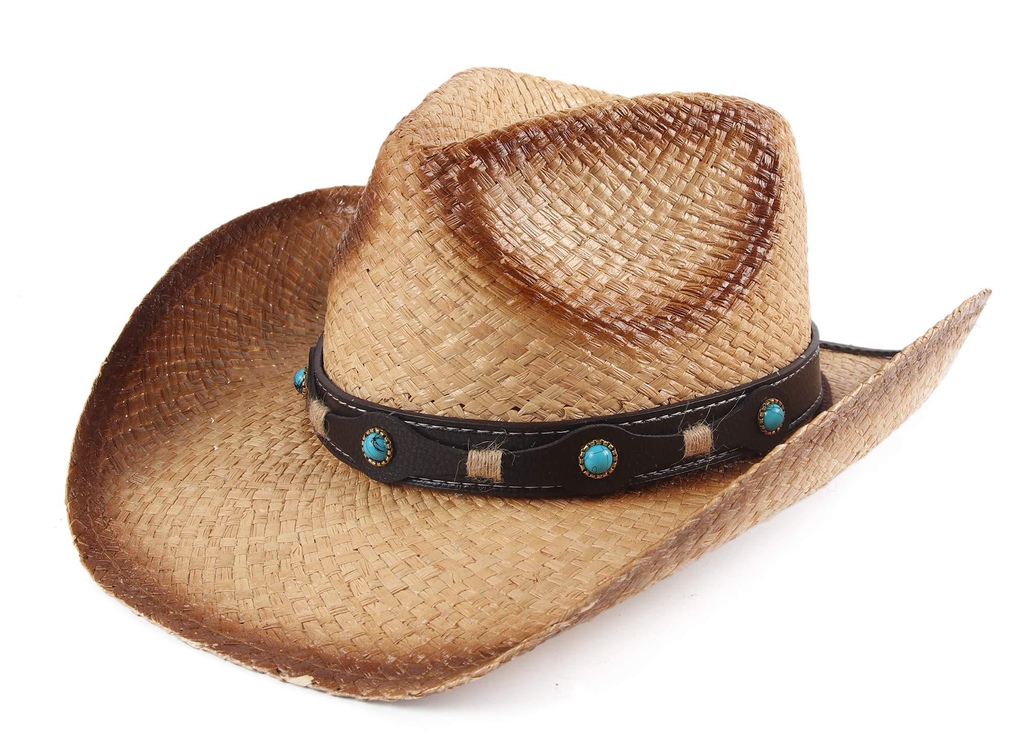 Melesh Adult Sun Straw Western Cowboy Hat (Raffia B)