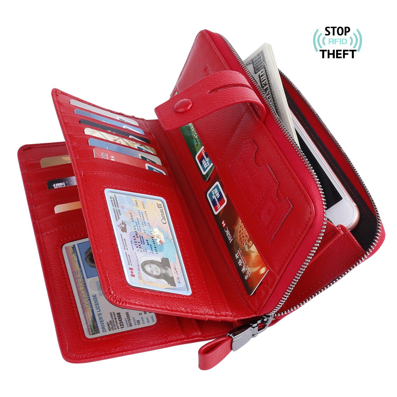 Bosiw Woman RFID Blocking Trifold Wallet Clutch Credit Card Organizer Travel Purse (Red)