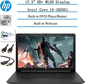 "2020 Newest HP 17.3"" HD+ Screen Laptop Computer, Intel Quad-Core i5-1035G1 (Up to 3.60GHz, Beat i7-7500U), Webcam, DVD-RW, HDMI, WiFi, Bluetooth, Win10 +CUE Accessories (32GB RAM I 512GB PCle SSD)"