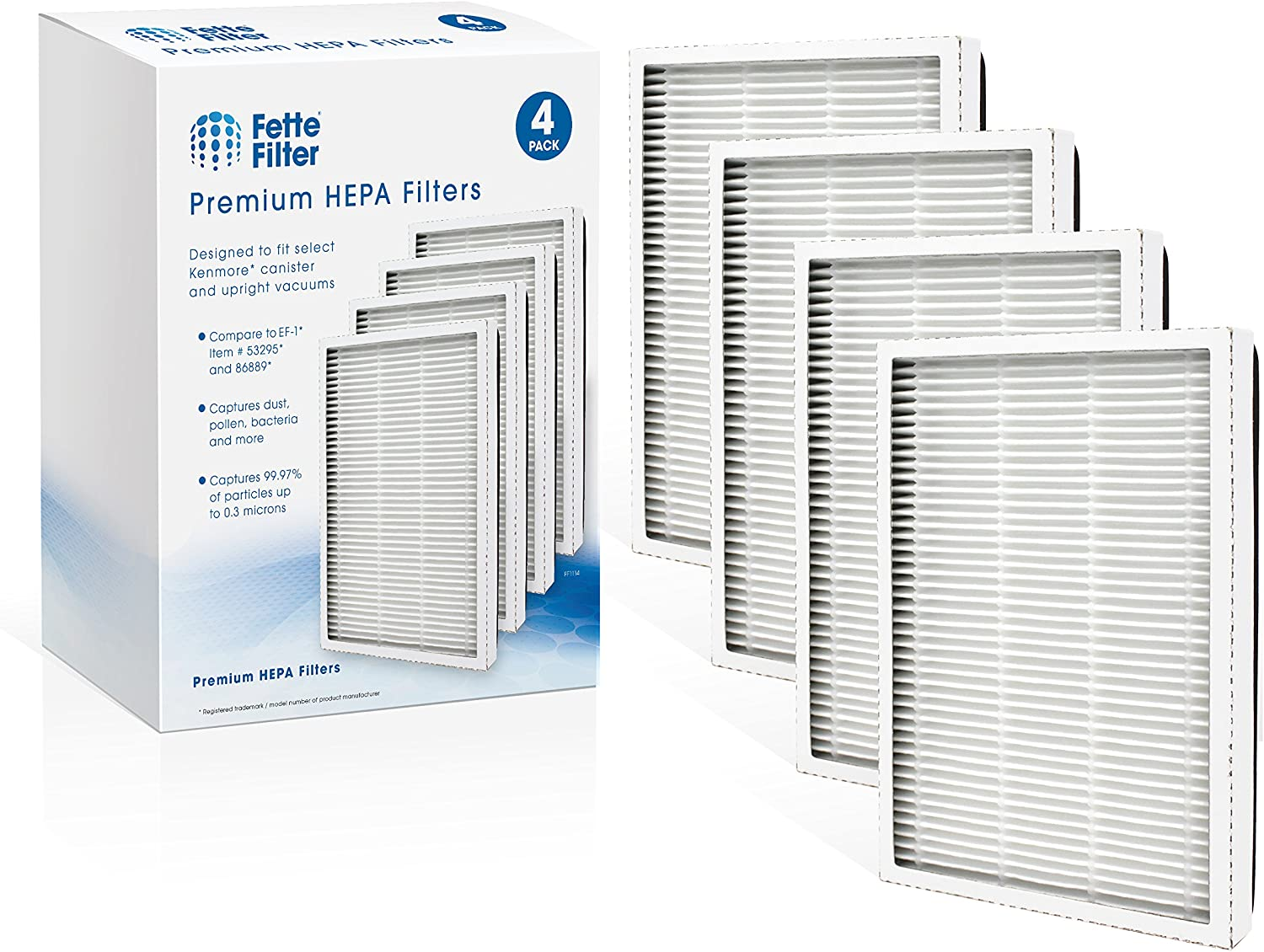 Fette Filter - Exhaust HEPA Vacuum Filter Compatible with EF-1 Sears Kenmore, (Compares to 86889) and Also Compatible with Panasonic (Compares to MC-V199H) (Pack of 4)