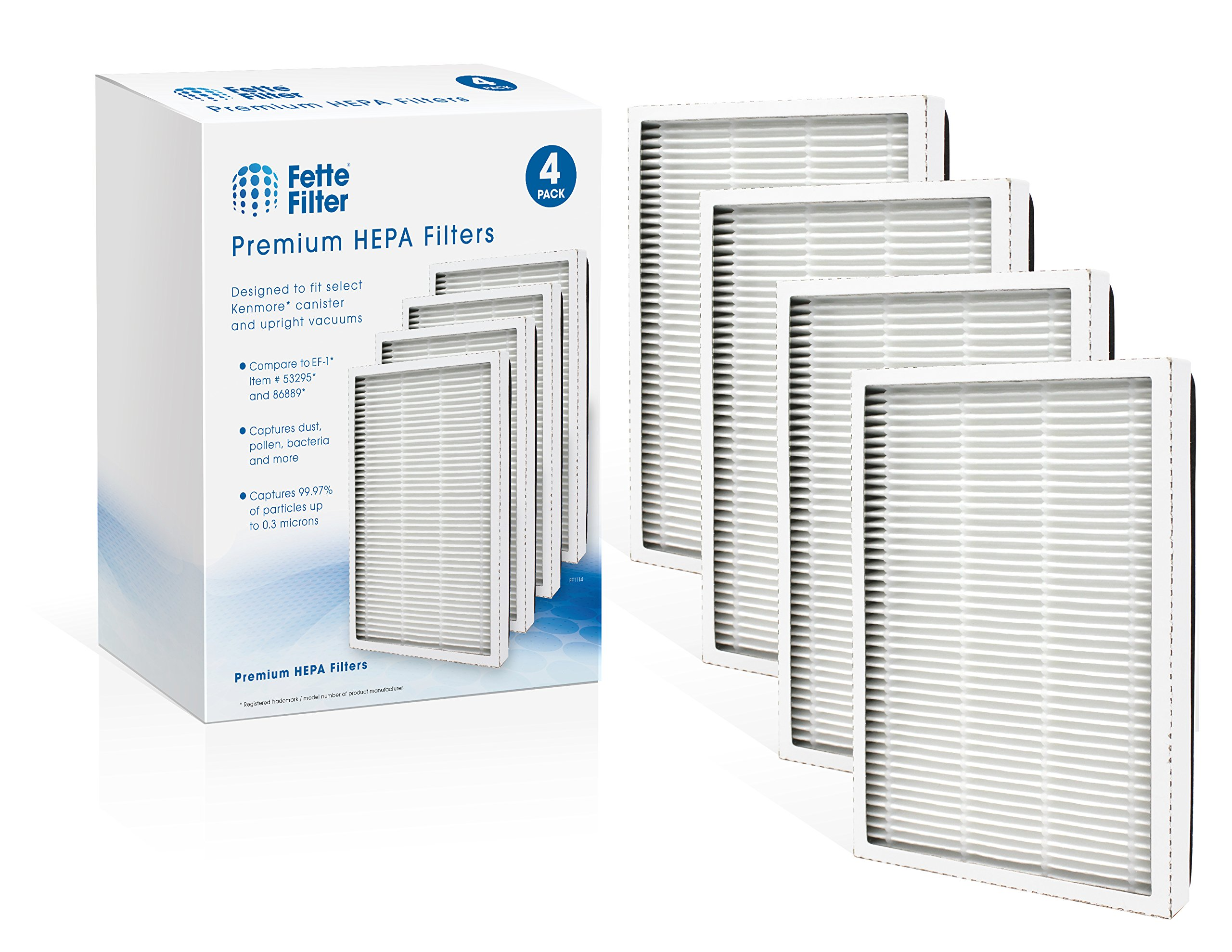 Fette Filter - Exhaust HEPA Vacuum Filter Compatible with EF-1 Sears Kenmore, (Compares to 86889) and Also Compatible with Panasonic (Compares to MC-V199H) (Pack of 4) by Fette Filter