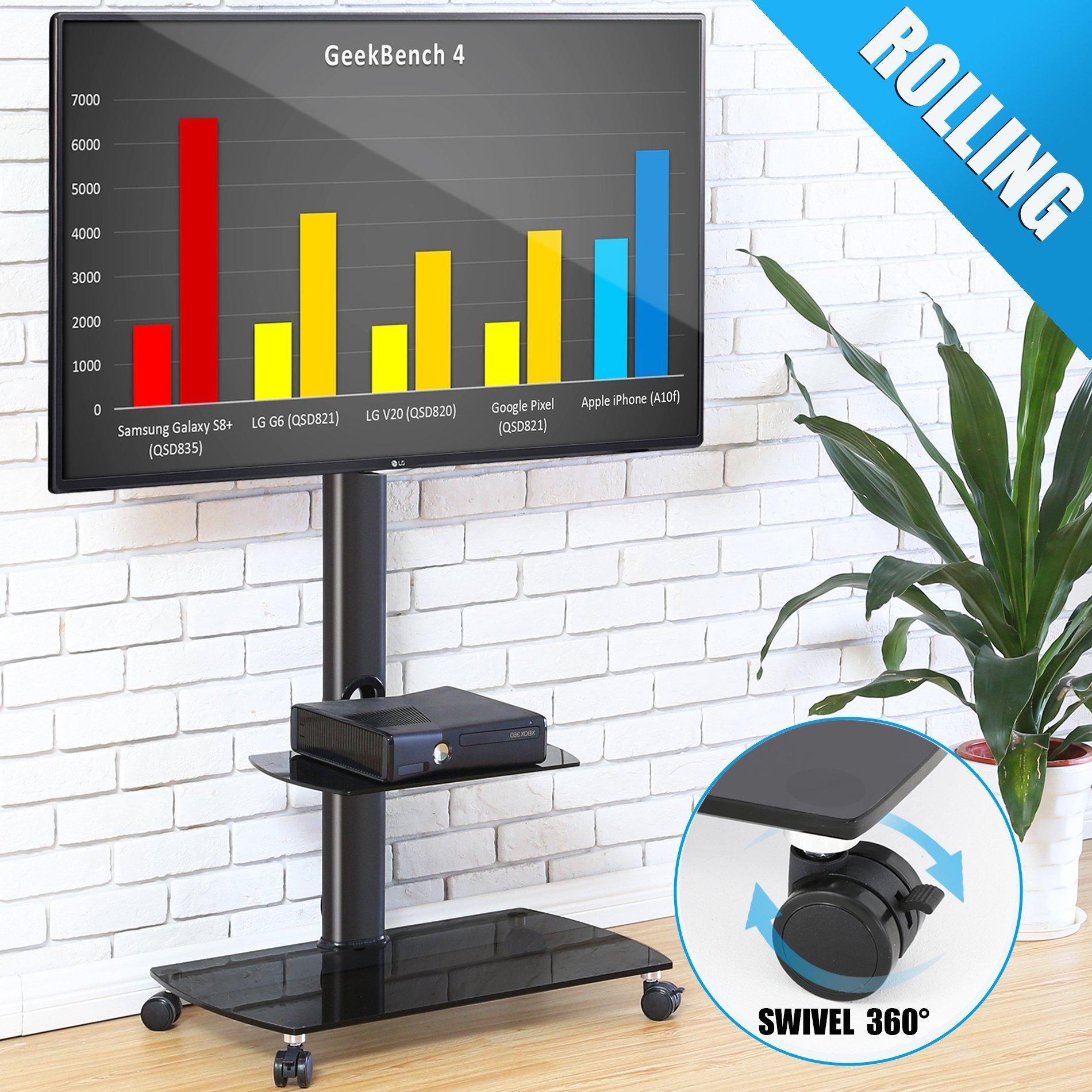 45bce47e869 FITUEYES Soporte Móvil de Suelo con 2 Estantes para TV LCD LED OLED Plasma  Plano Curvo
