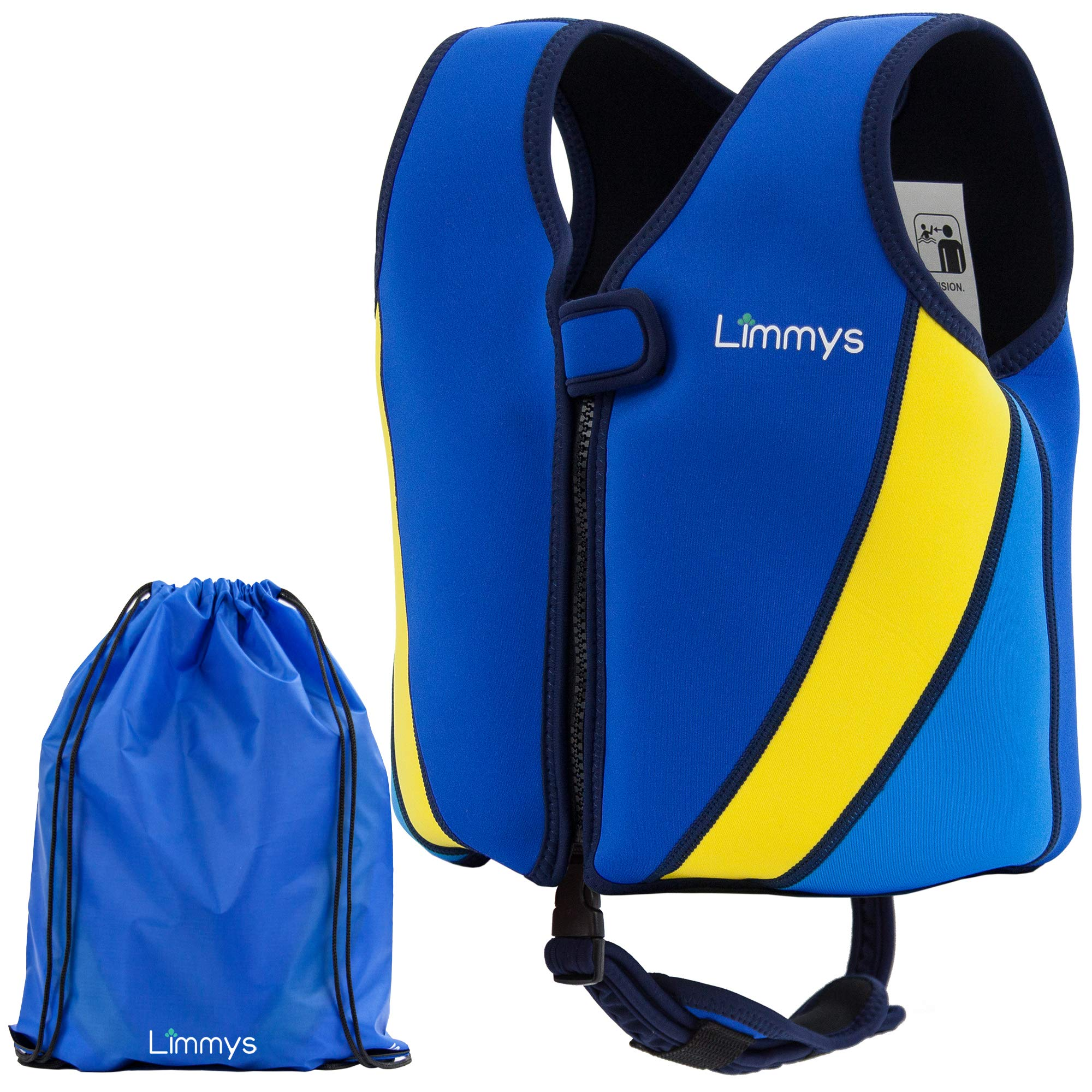Limmys Premium Neoprene Swim Vest for Children, Ideal Buoyancy Swimming Aid for Boys and Girls, Bonus Drawstring Bag Included