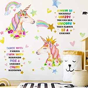 3 Sheets Unicorn Wall Decor, Removable Unicorn Rainbow Wall Decal Stickers for Girls Kids Bedroom Nursery Birthday Party Favor