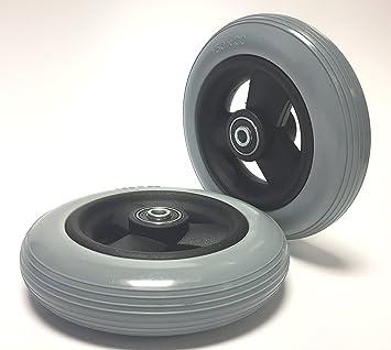 2 ruote per sedia a rotelle, antiforatura, 6 x 1 14 o anche 150 x 30,foro di 8 mm, lunghezza del mozzo 36 mm