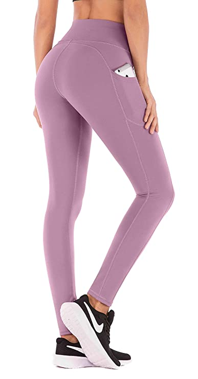 IUGA High Waist Yoga Pants with Pockets, Tummy Control, Workout Pants for Women 4 Way Stretch Yoga Leggings with Pockets (Begonia Pink, Large) best fitness leggings