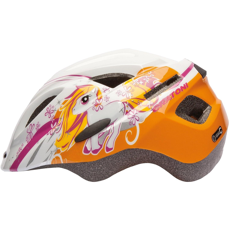 Cratoni Kinder Fahrradhelm Rapper Dino oder Pony Kinderhelm Pony weiß orange glanz 2369 S = 49 53 cm Amazon Sport & Freizeit