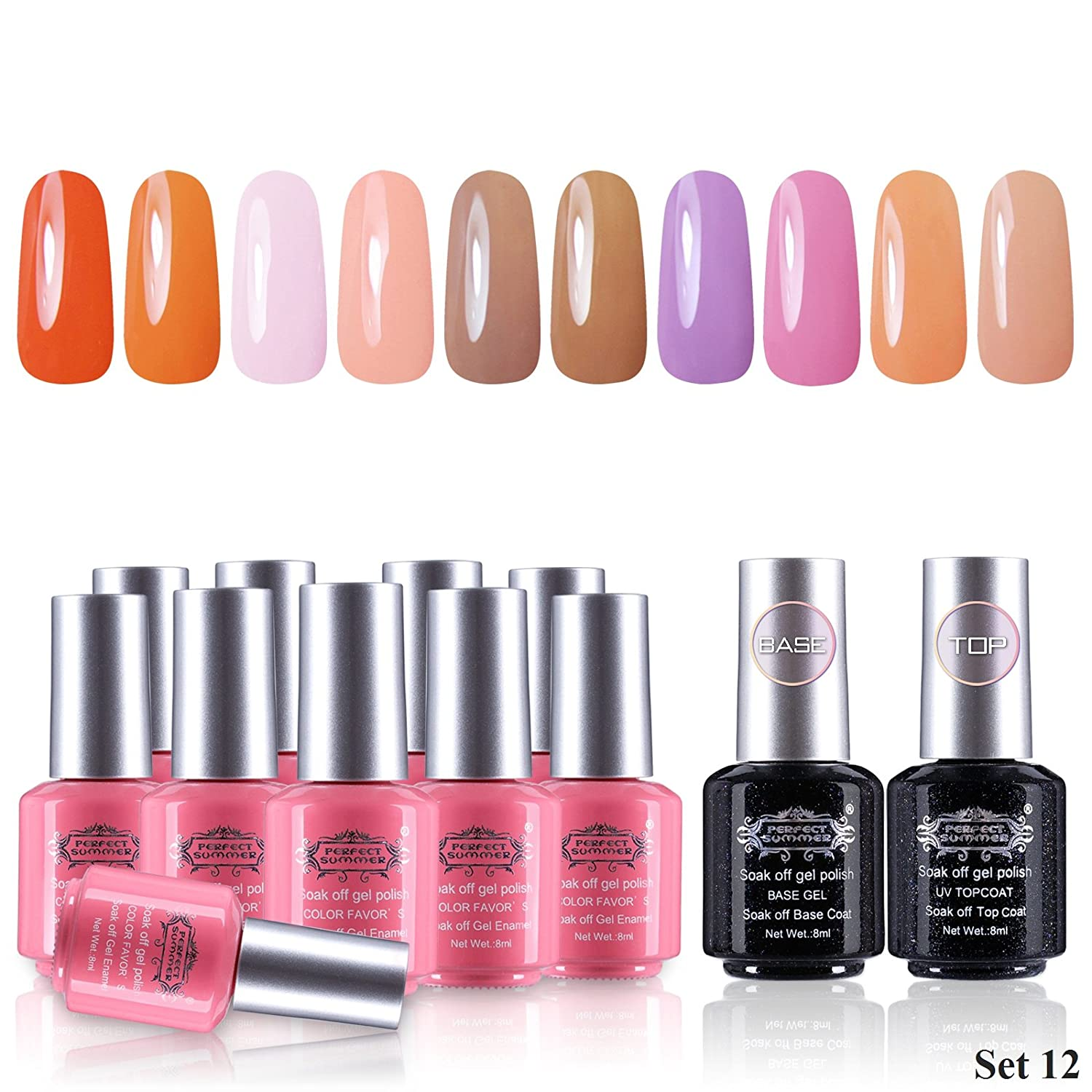Perfect Summer Gel Nail Polish 10 Colors Nail Lacquers + 2 Clear Base Coat  and Top Coat Gel Dual