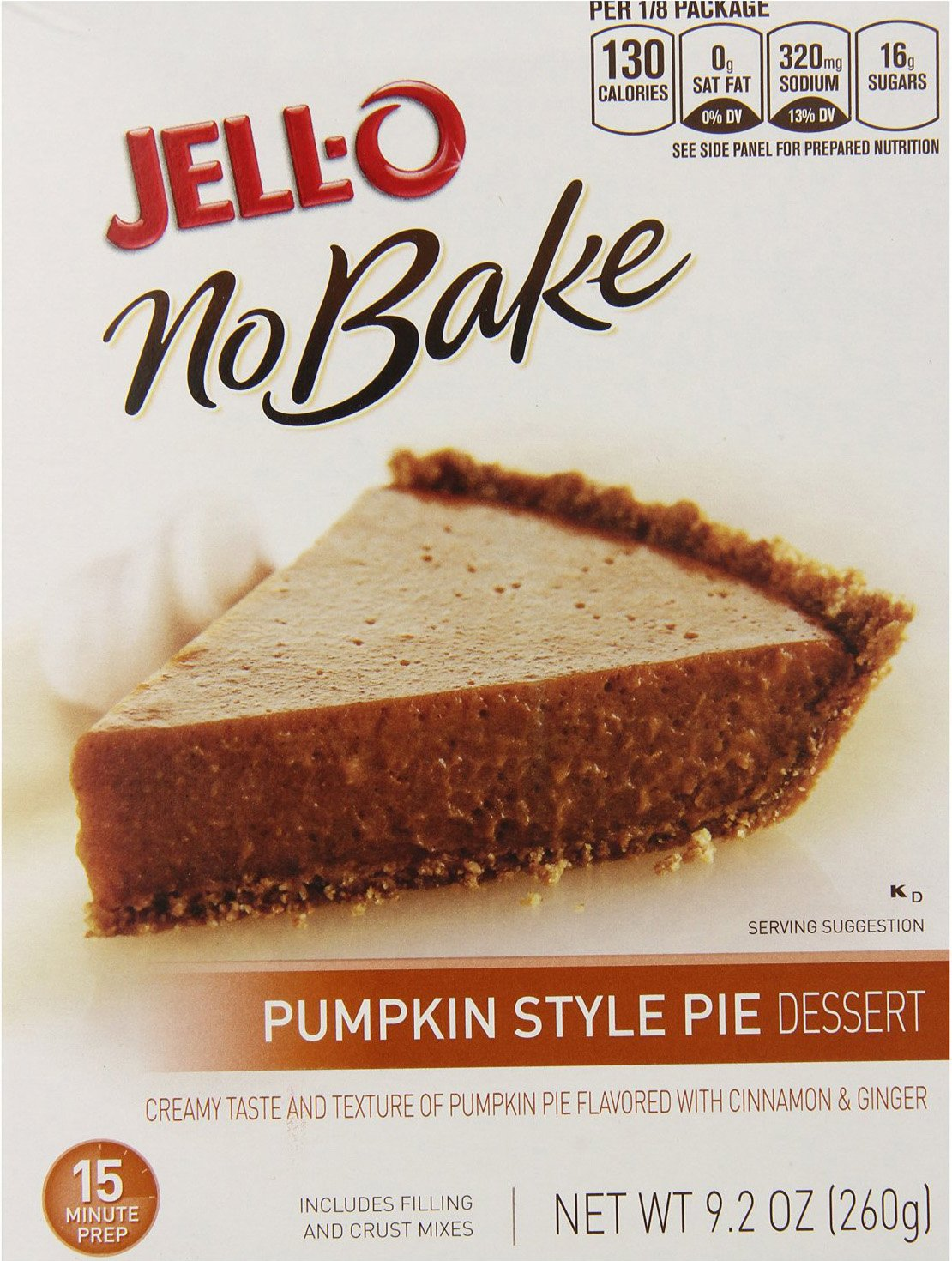 Jell-O, No Bake, Pumpkin Style Pie Dessert Mix, 9.2oz Box (Pack of 2)