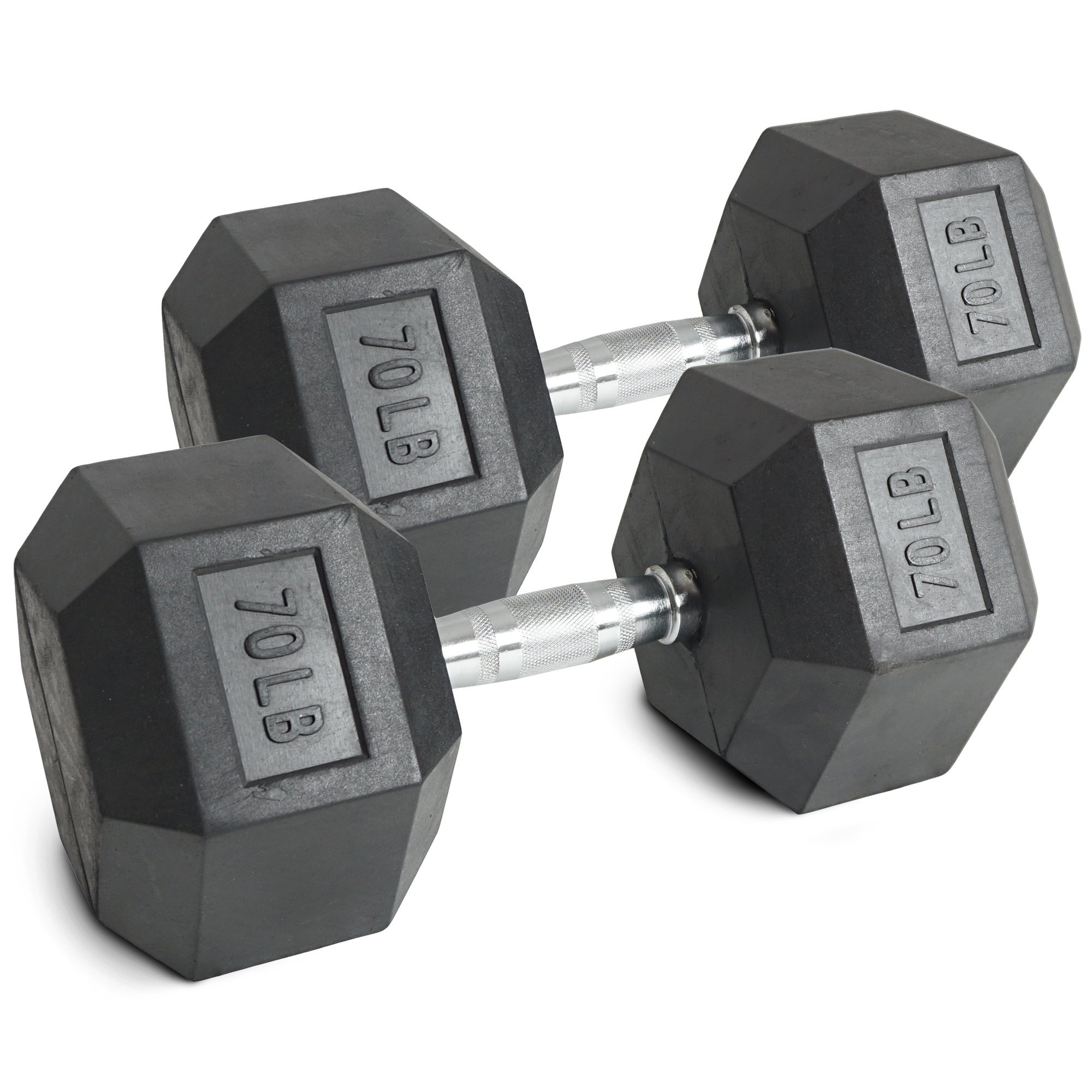 Pair 70 lb Black Rubber Coated Hex Dumbbells Weight Training Set 140 lb Fitness