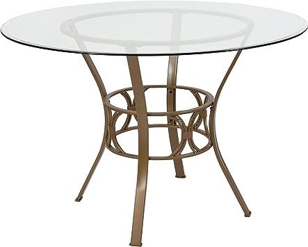 Flash Furniture Mesa de Comedor de Cristal Redonda de 42 Pulgadas ...