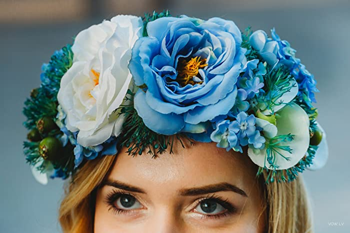 Image Unavailable. Image not available for. Colour  Blue flower crown ... 096302dfd5a