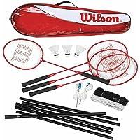 Wilson Tour Kit badminton avec 4 raquettes, un filet, des poteaux et des volants
