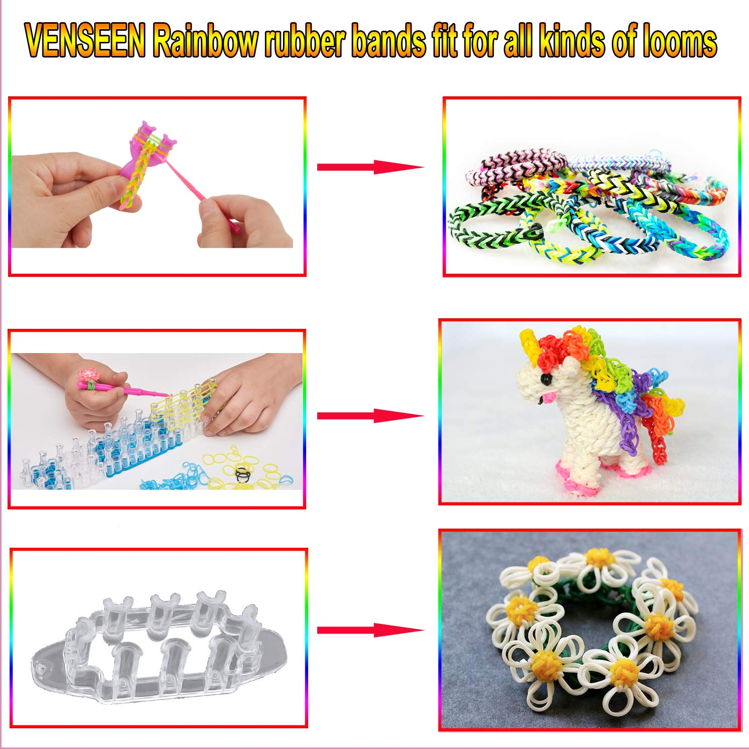 VENSEEN Rainbow Rubber Bands Bracelet Making Kit 6 Hooks 2 Y Loom 15000 Loom Bands in 30 Colors with 600 Clips