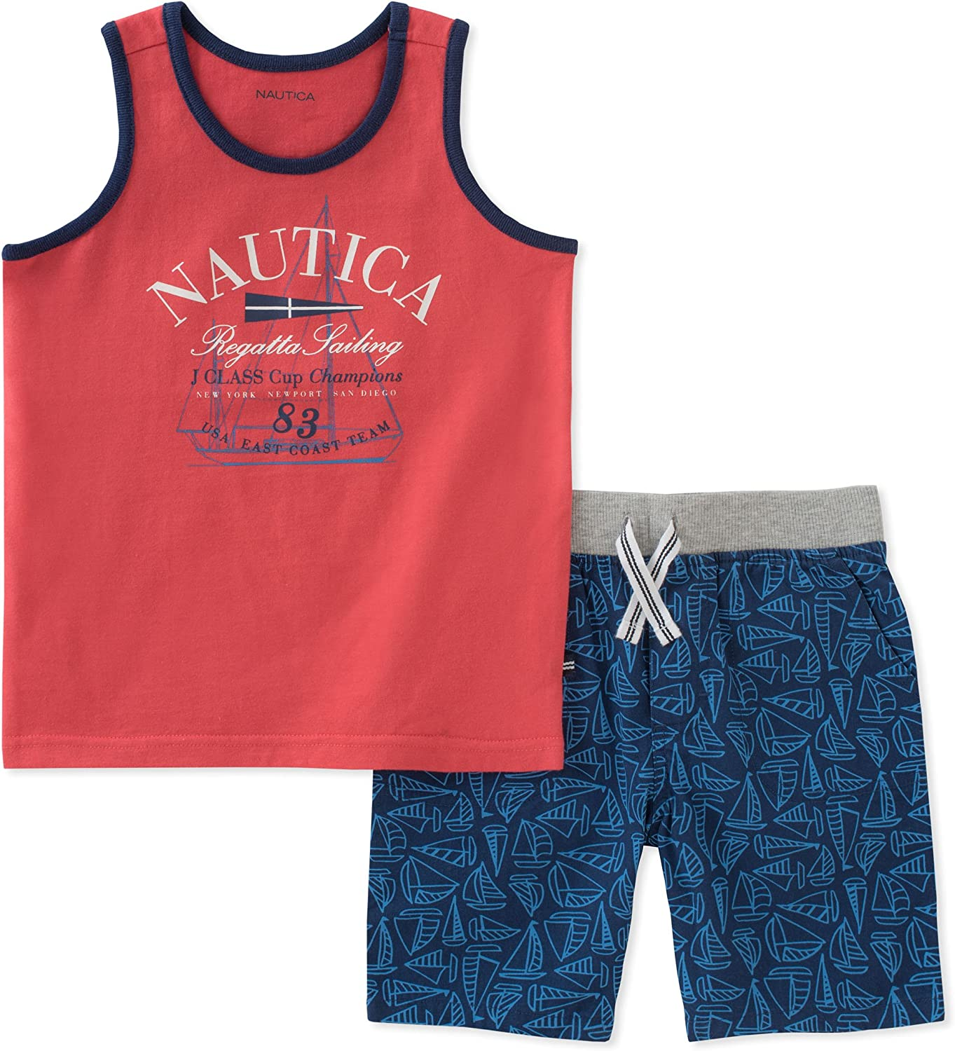 Nautica Boys Two Piece Set with Tank Top and Pull On Shorts