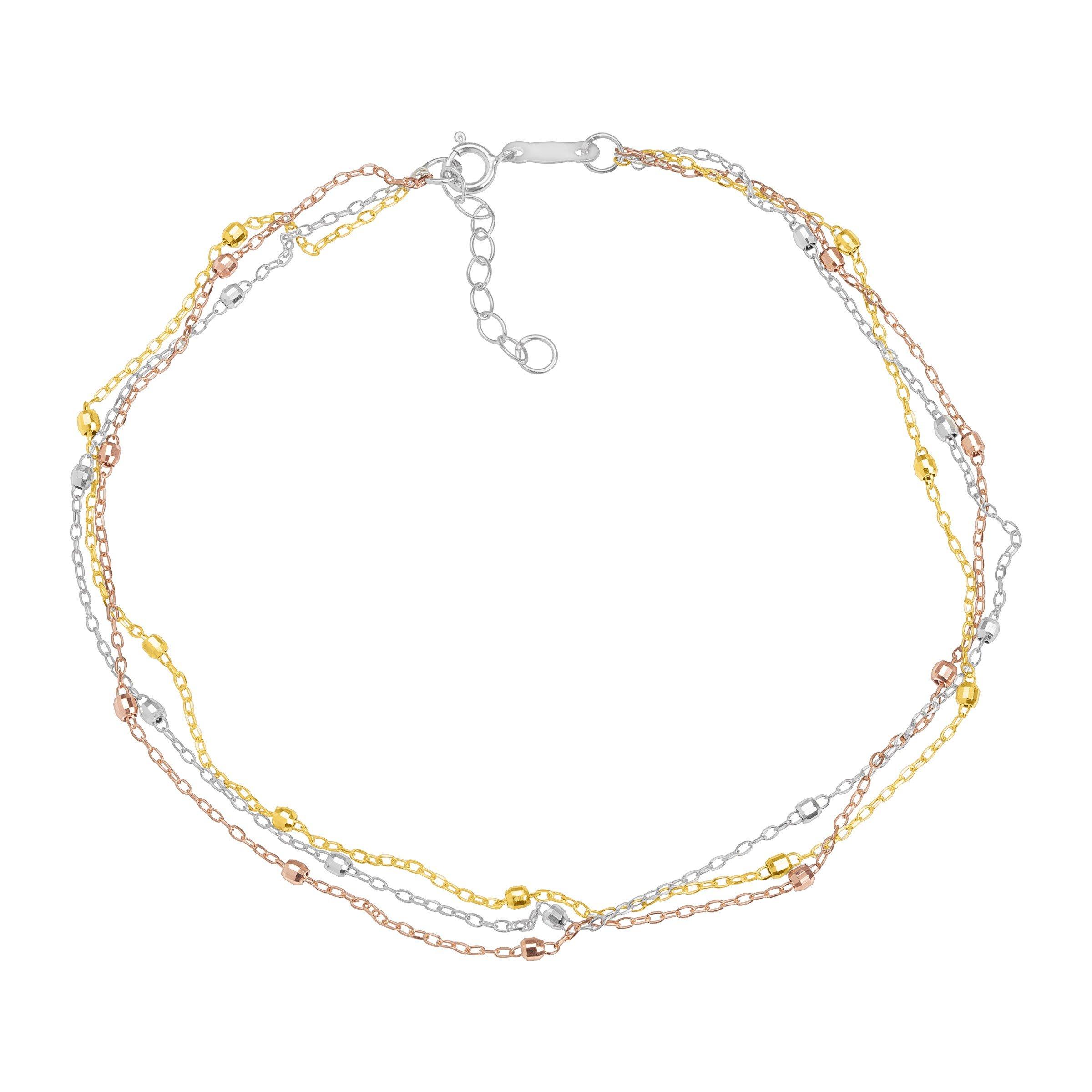 Just Gold Triple-Strand Beaded Anklet Bracelet in 14K Three Tone Gold