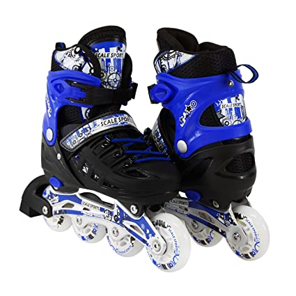0e8f454c46a Scale Sports Kids Adjustable Inline Roller Blade Skates Blue Small Sizes  Safe Durable Outdoor Featuring Illuminating