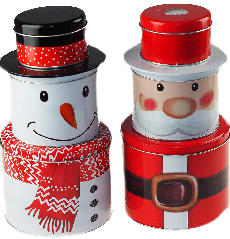 a Chiusura ermetica BWG Set di 3 scatole di Latta per Alimenti impilabili con Pupazzo di Neve e Babbo Natale