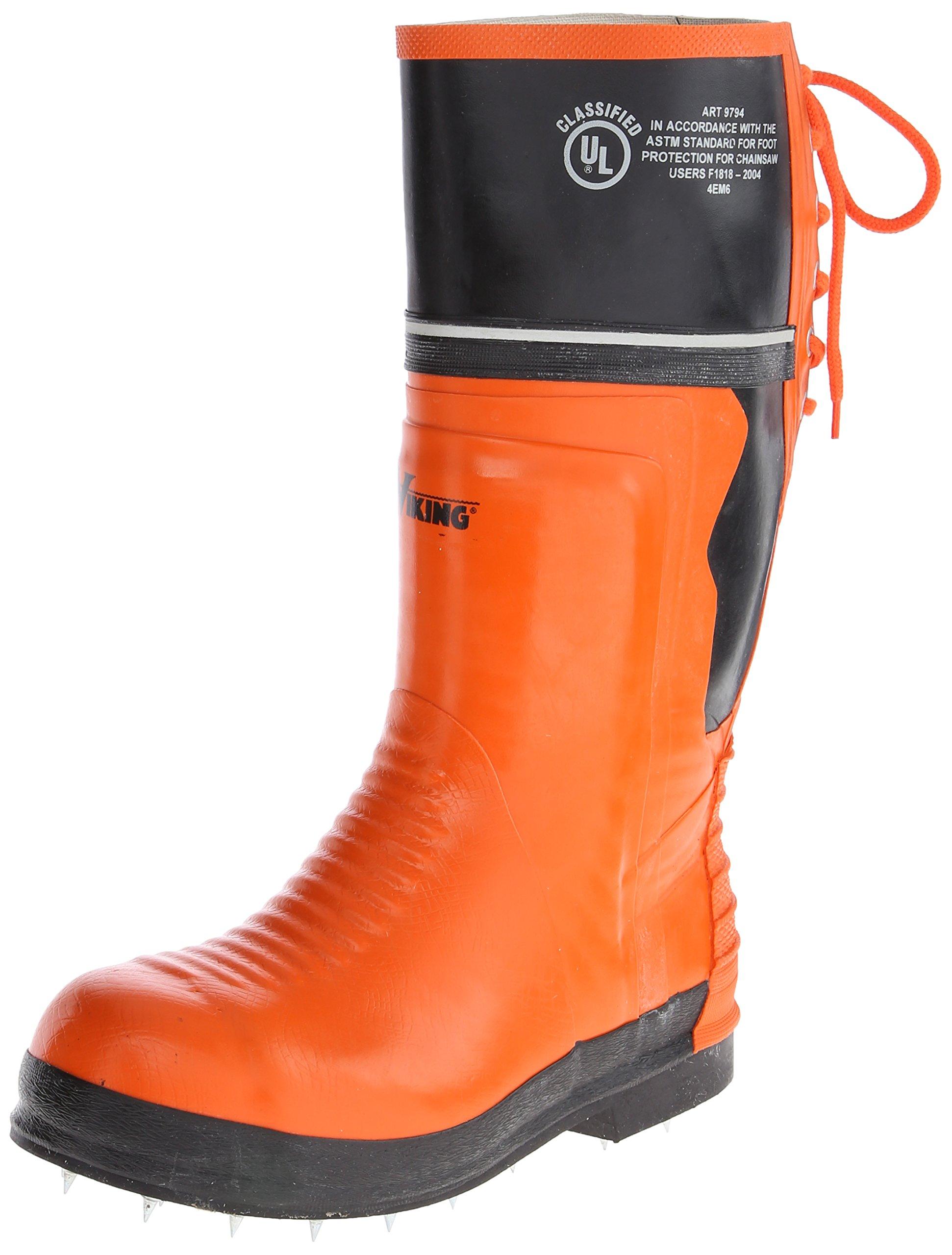 Viking Footwear Class 2 Chainsaw Caulked Boot,Orange/Black,7 M US