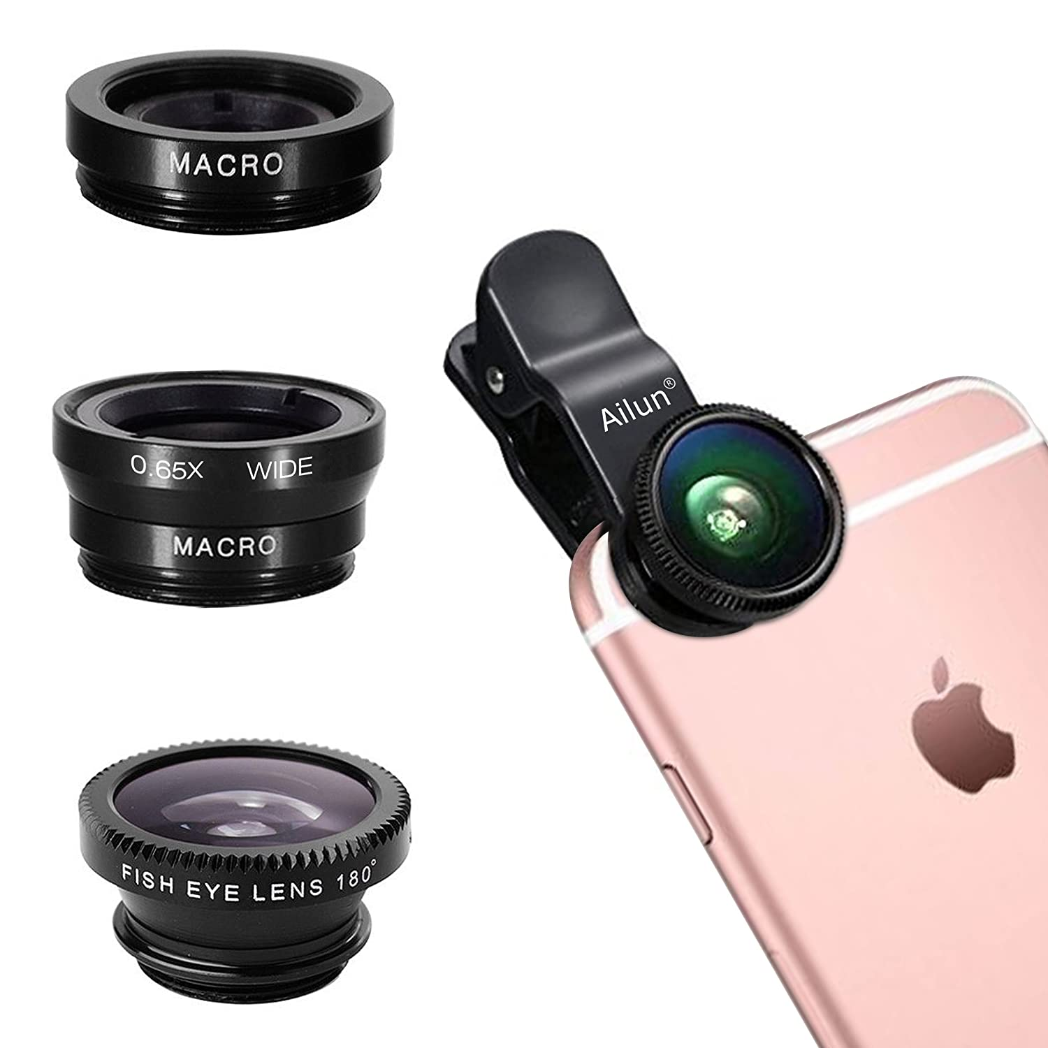Black iPhone Lens,by Ailun,3 in 1 Clip On 180 Degree Fish Eye Lens+0.65X Wide Angle+10X Macro Lens,Universal HD Camera Lens Kit for iPhone 7//6s//6s Plus//6//SE//5//5s,Samsung,BlackBerry,Mobile Phone