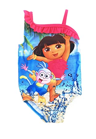 3e5edf46667c1 Nick Jr Dora The Explorer Toddler Girls Pink Ruffle One Piece Swimsuit (18  Months)  Amazon.ca  Baby