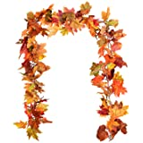 DearHouse 2 Pack Fall Garland Maple Leaf, 5.9Ft/Piece Hanging Vine Garland Artificial Autumn Foliage Garland…