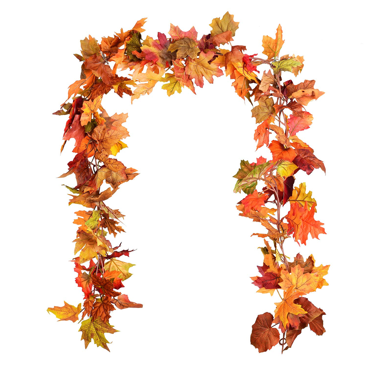 DearHouse 2 Pack Fall Garland Maple Leaf, 5.9Ft/Piece Hanging Vine Garland Artificial Autumn Foliage Garland Thanksgiving Decor for Home Wedding Fireplace Party Christmas