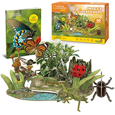 Cubicfun National Geographic 3D Puzzle Insect Science Model for Kids with Booklet, Insect Superpowers: Toys & Games