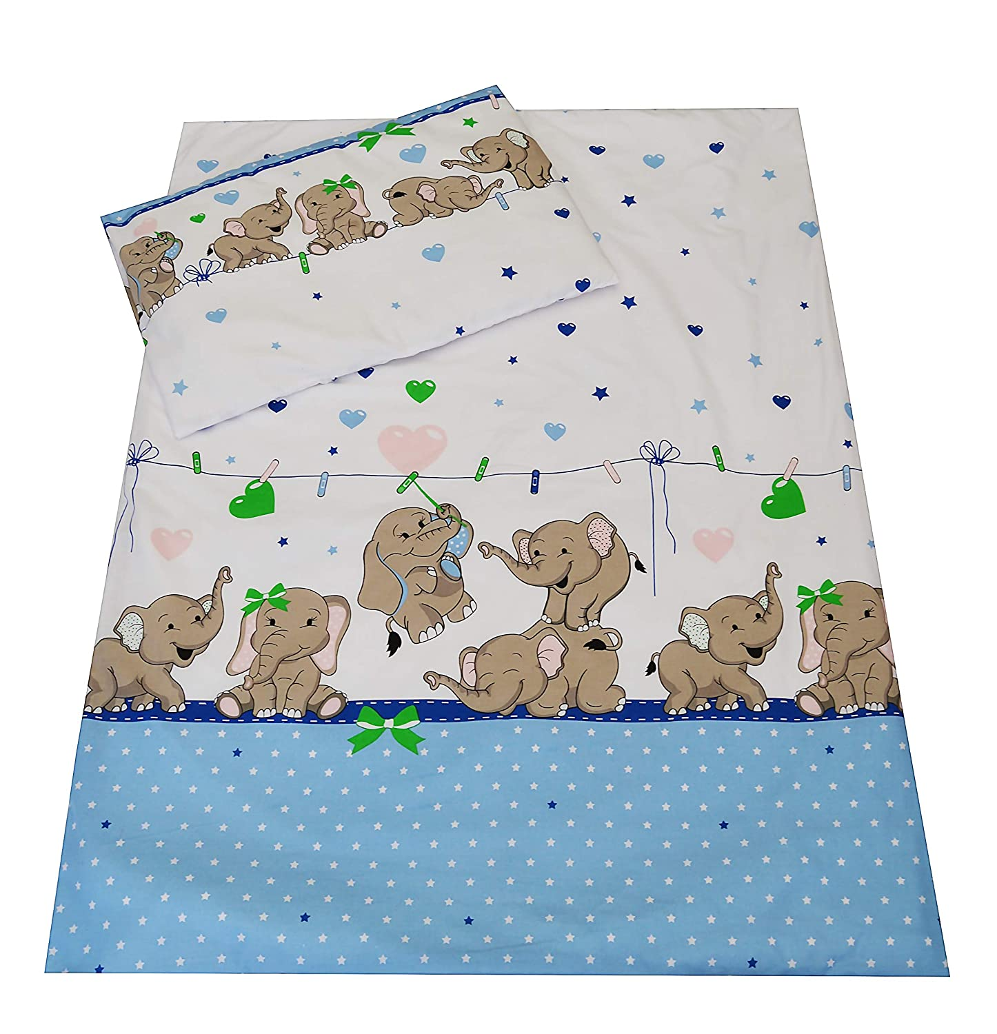 babies-island Children's Bedding set- Boys Duvet Cover and Pillowcase Cot/Cot bed/Toddler - BLUE JUNGLE ELEPHANTS (90x120 cm)