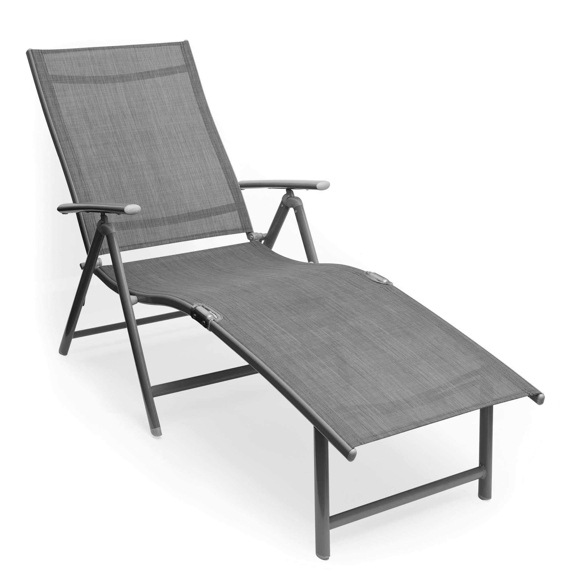 Kozyard Cozy Aluminum Beach Yard Pool Folding Reclining Adjustable Chaise Lounge Chair (1, Gray) by Kozyard