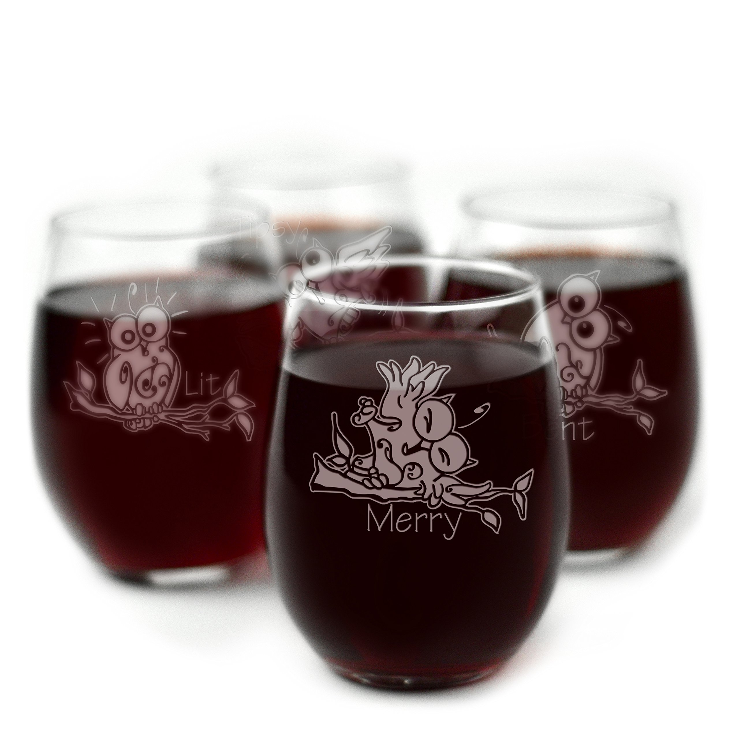 Drunk Owl Themed Engraved Stemless Wine Glasses - Set of 4