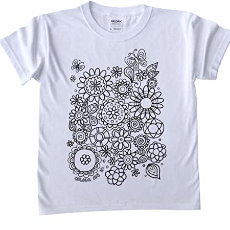 T Shirts For Kids To Colour In Printed Outline Kids Craft Flowers