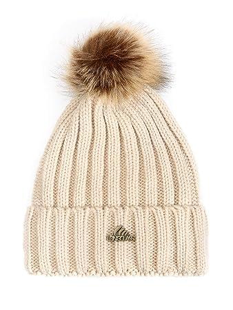 cb0761a484ab9e LONGCLASS beige Damen Bommelmütze BOMBOLEO Mütze hell braun Hellbraun beige warme  Wintermütze mit Bommel für Mädchen