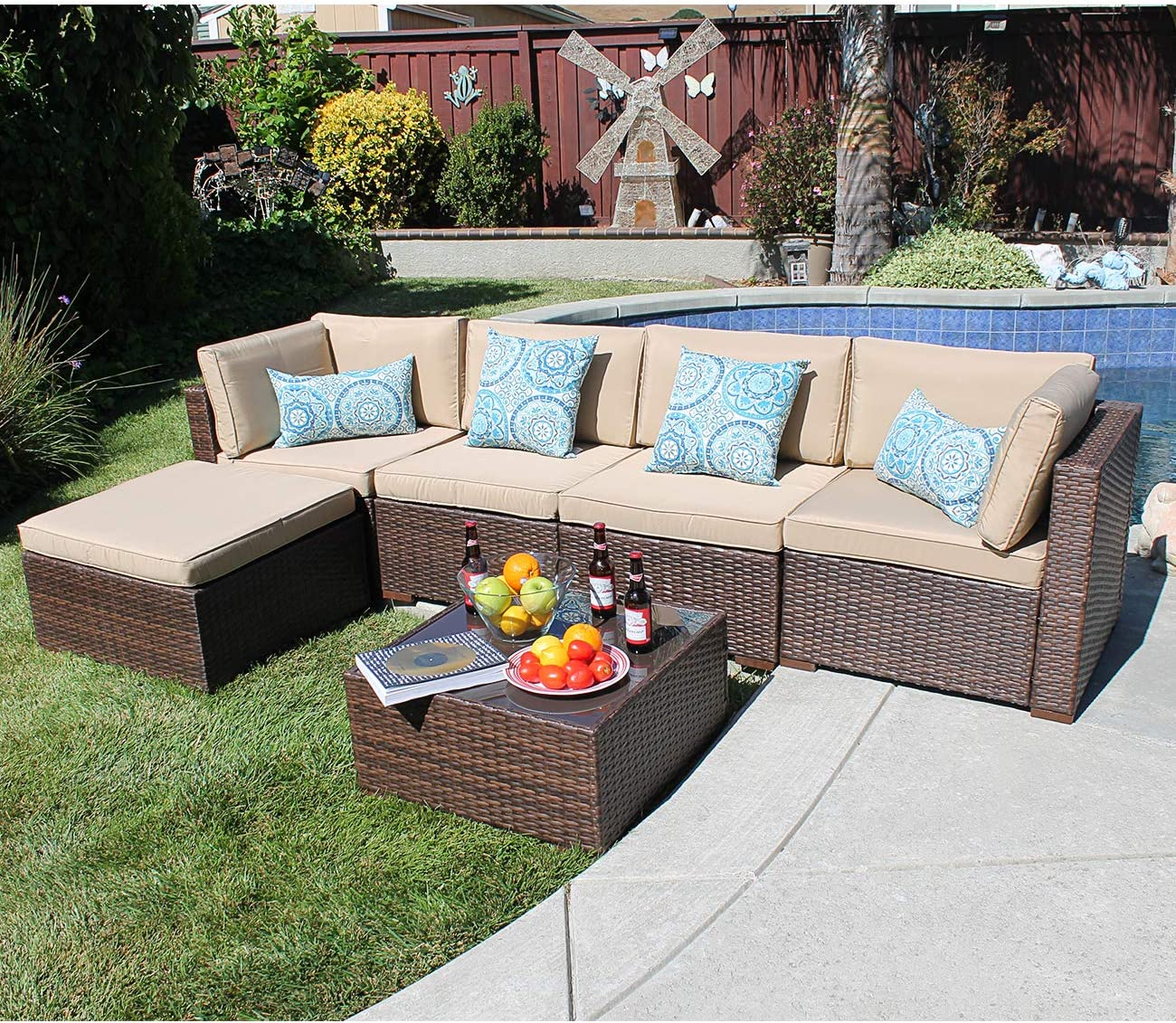 SUNSITT Outdoor Sectional 6 Piece Patio Furniture Set All Weather Brown Wicker Sofa Set with Ottoman, Beige