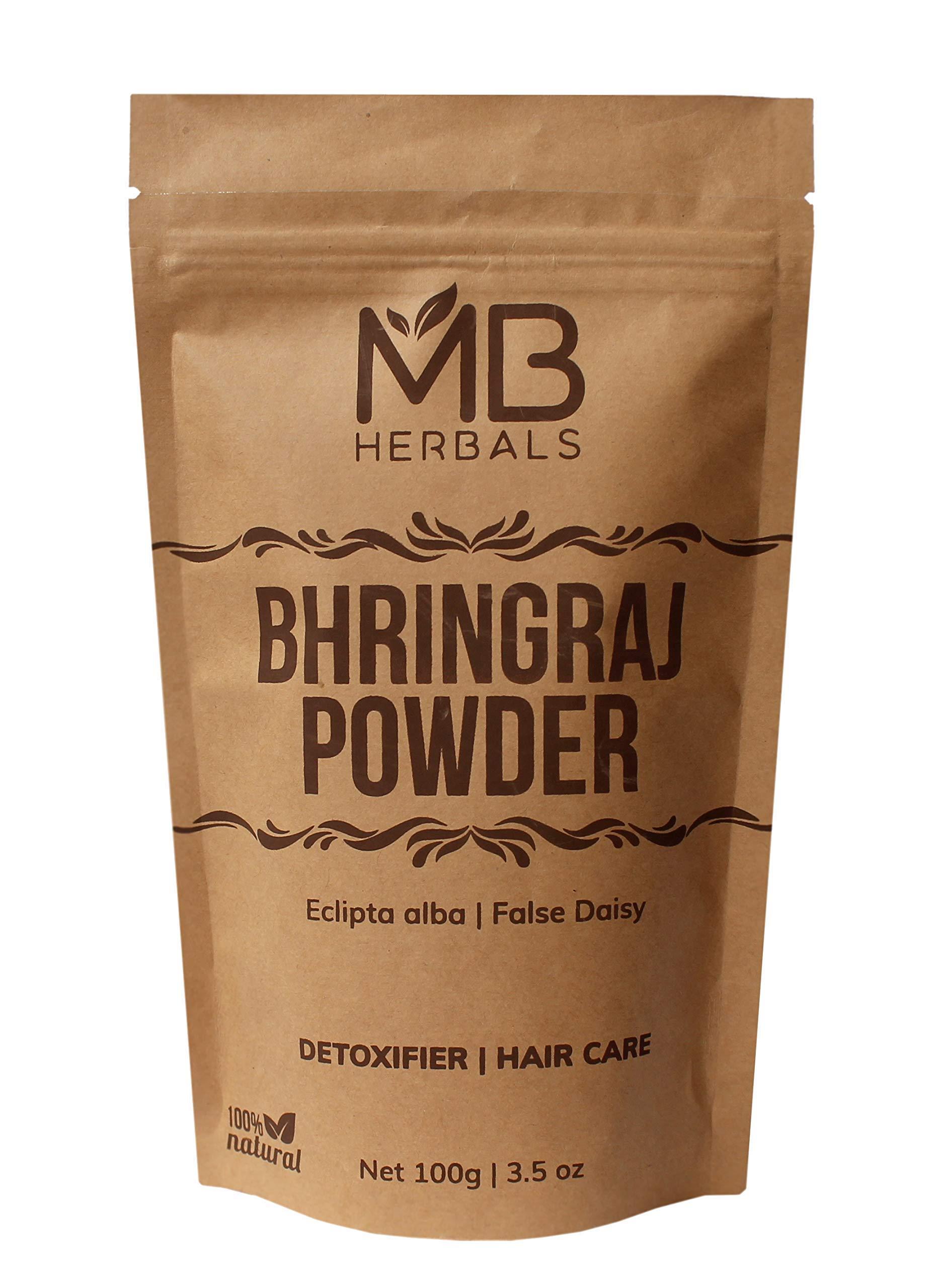 MB Herbals Pure Bhringraj Powder 100 Grams   Pure Bhringaraj Eclipta Alba Powder Promotes Healthy Hair Growth