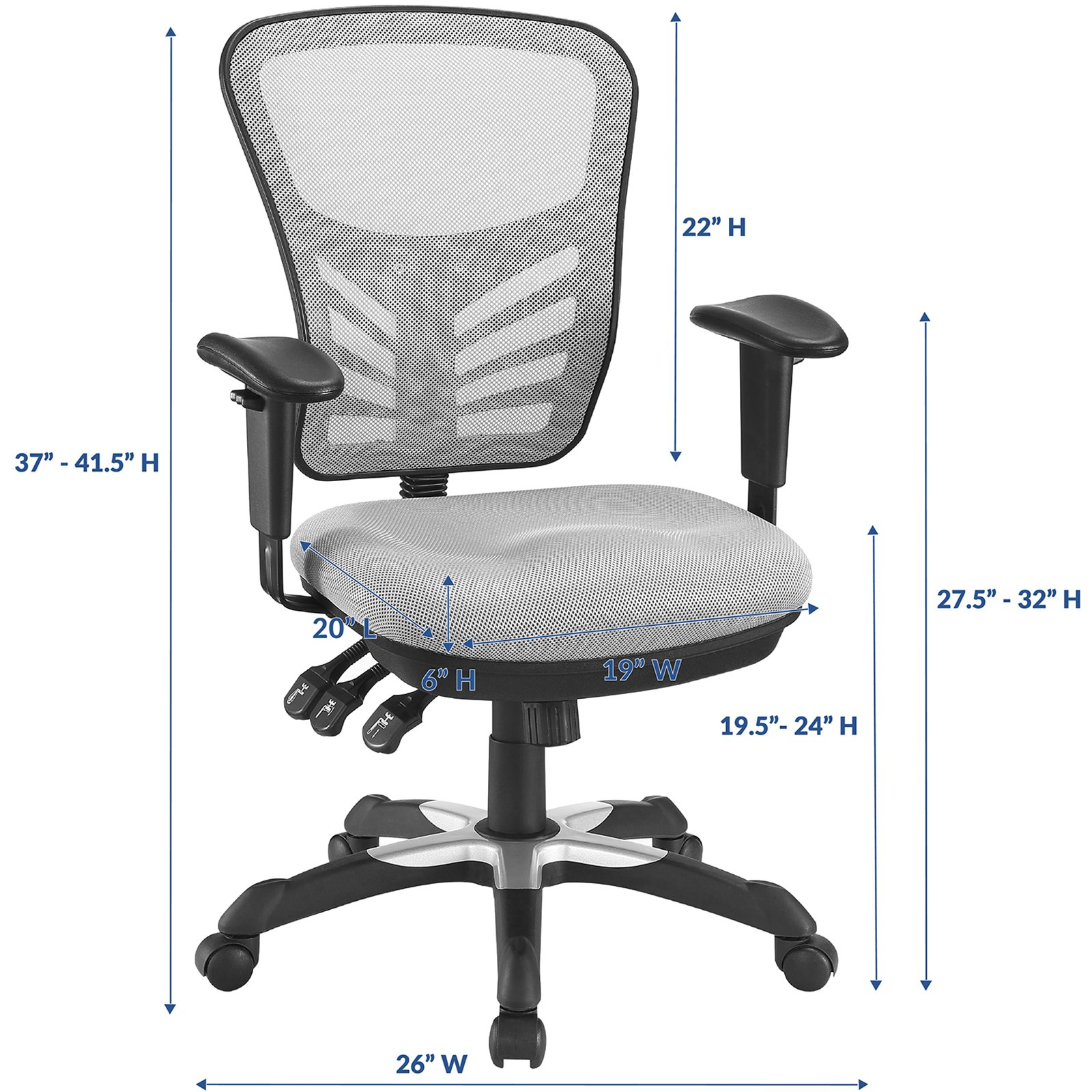 Modway Articulate Ergonomic Mesh Office Chair in Gray by Modway (Image #2)