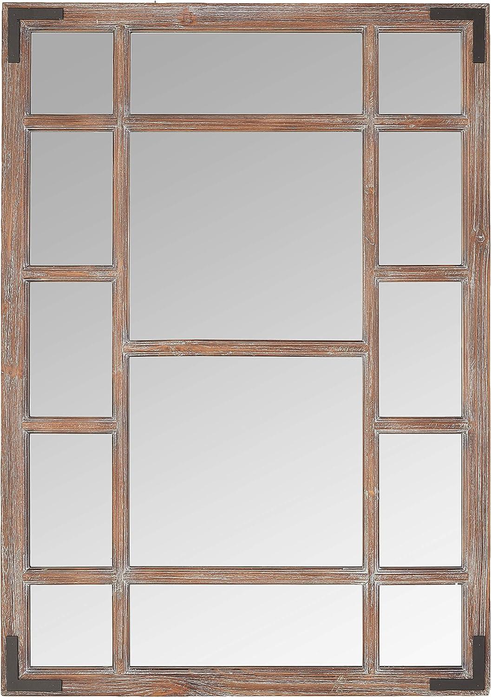 """Amazon Brand - Stone & Beam Vintage Wooden Grid Wall Mirror, 39.25""""H, Dark Stain"""