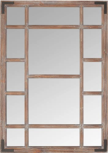 Amazon Brand – Stone Beam Vintage Wooden Grid Wall Mirror, 39.25 H, Dark Stain