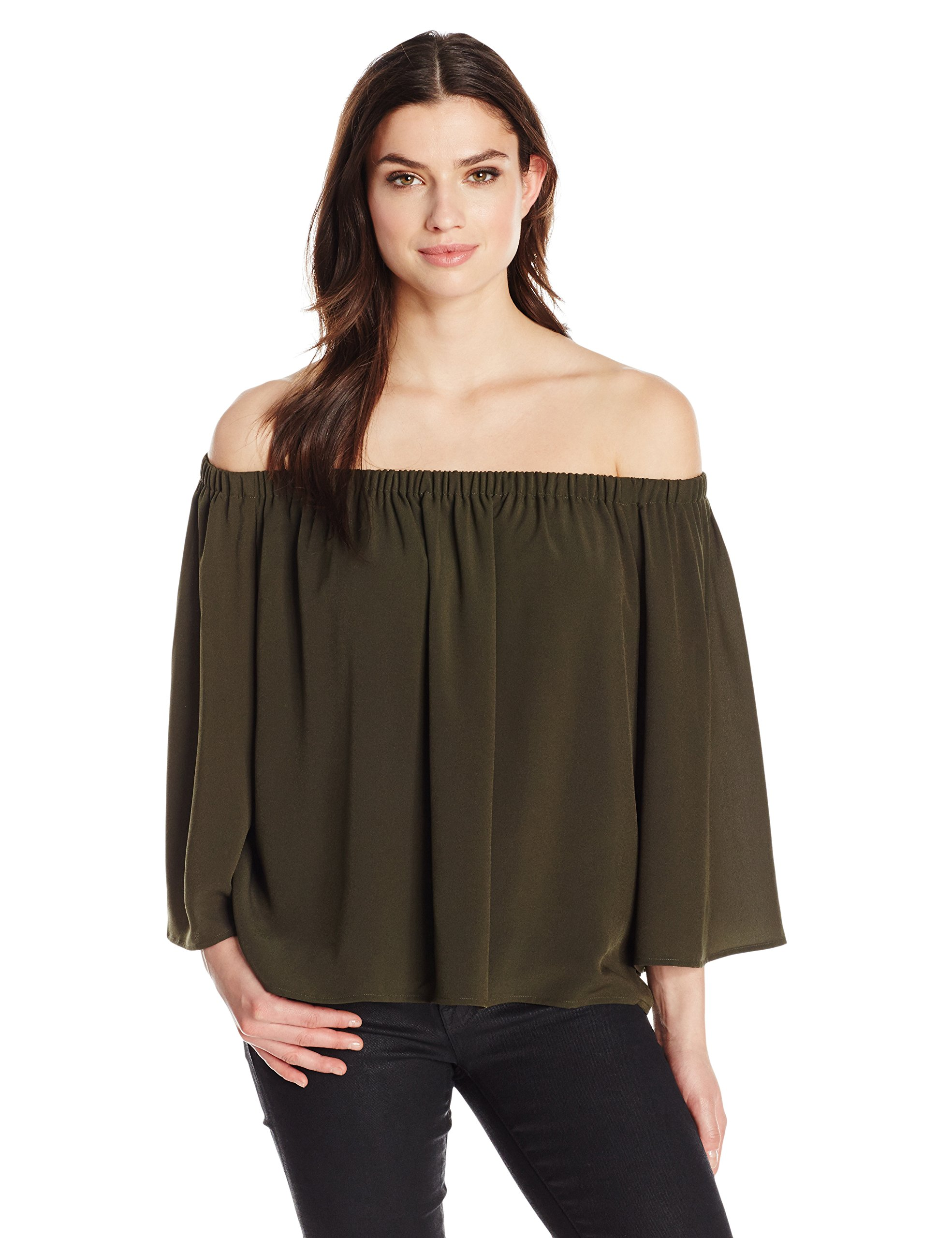 French Connection Women's Summer Crepe Light Off The Shoulder Top, Woodland Green, XS