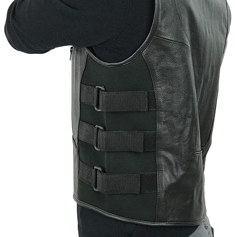 S Men Full Grain Cowhide Leather Motorcycle Biker Bulletproof Style Vest Black