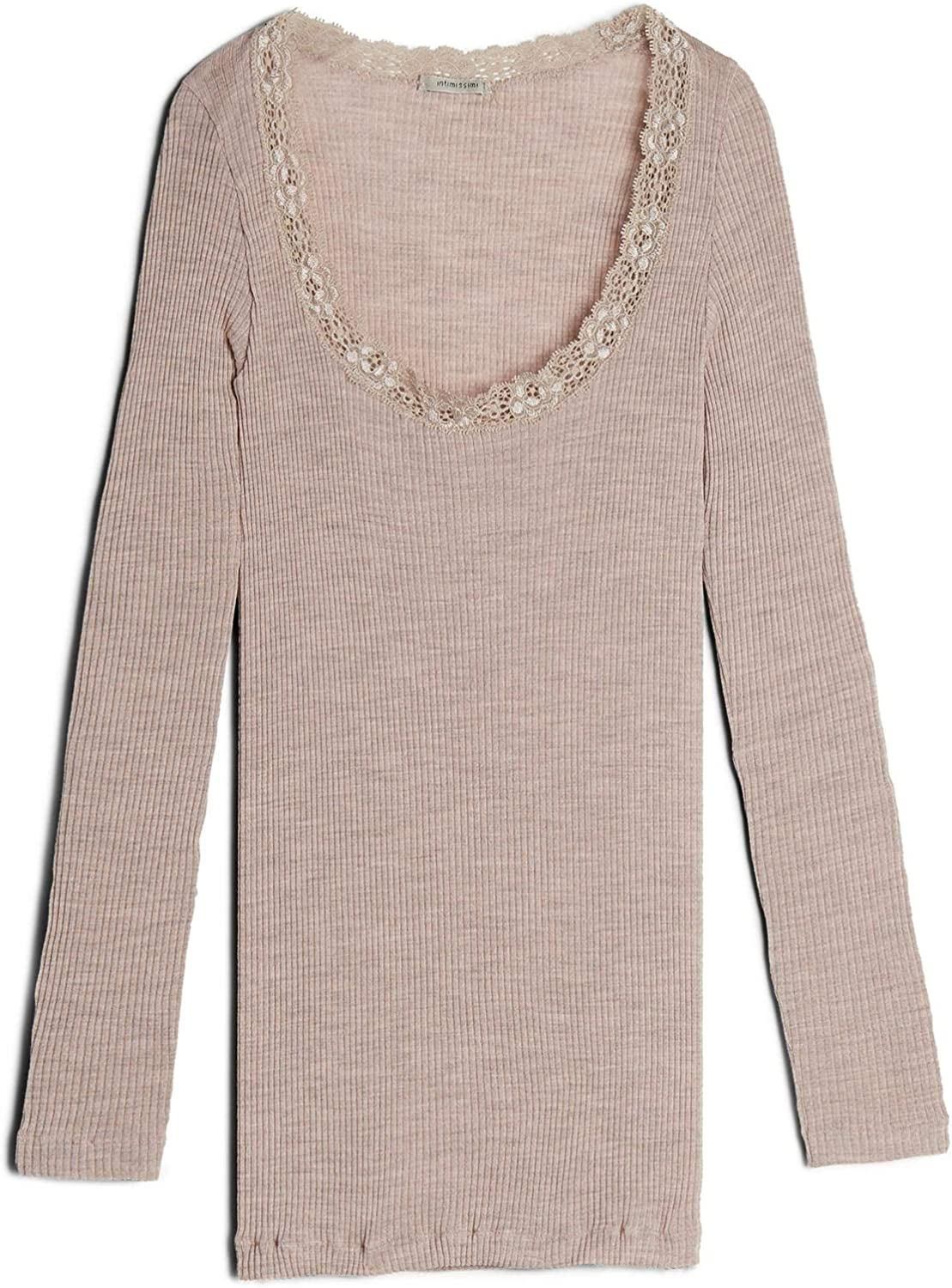 Intimissimi Womens Silk and Wool Top with Lace-Detail Neckline