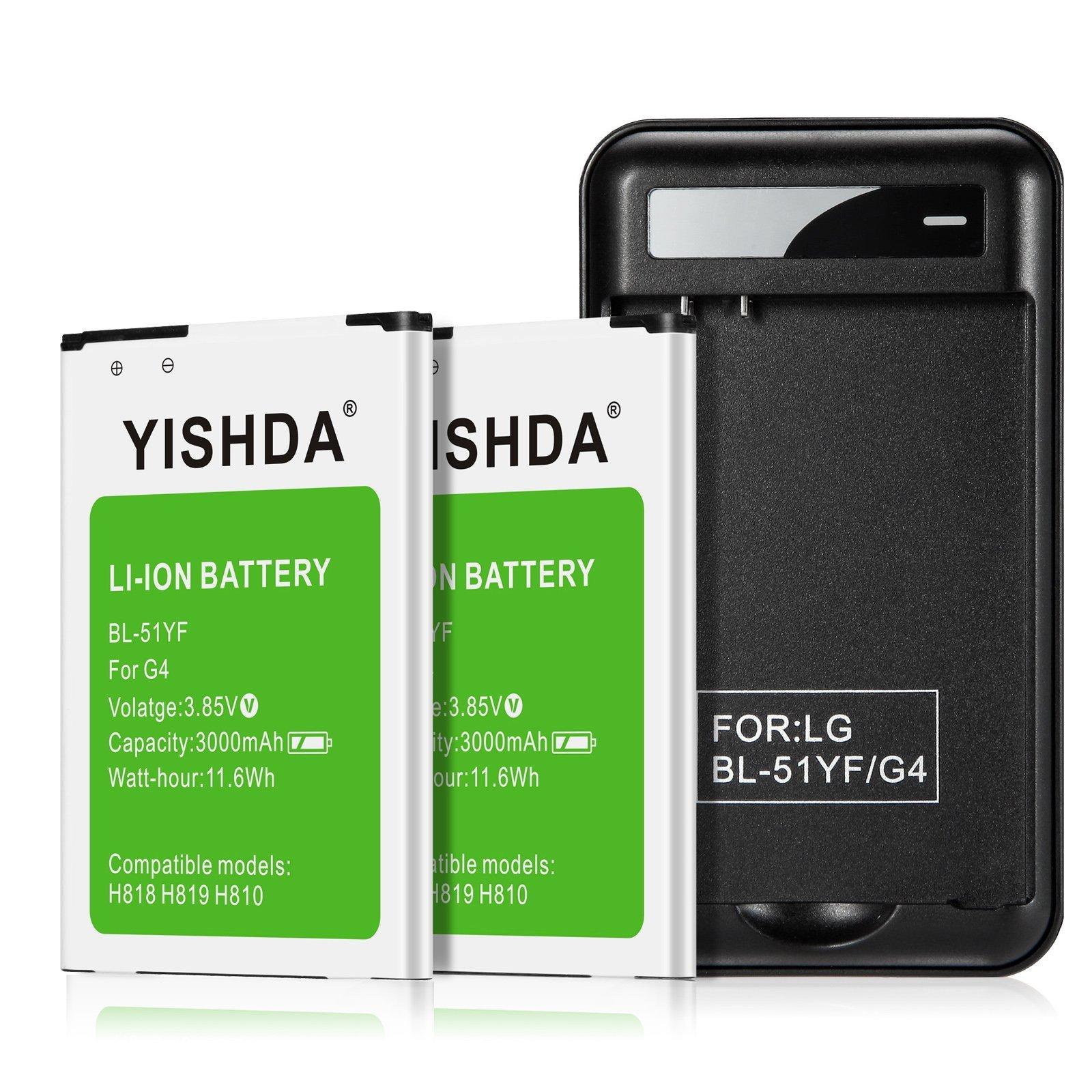 YISHDA LG G4 Batteries, 2 x 3000mAh Li-ion BL-51YF Battery for LG G4 H815 H810 H811 LS991 US986 US991 with LG G4 USB Wall Travel Spare Battery Charger | LG G4 Replacement Battery Kit