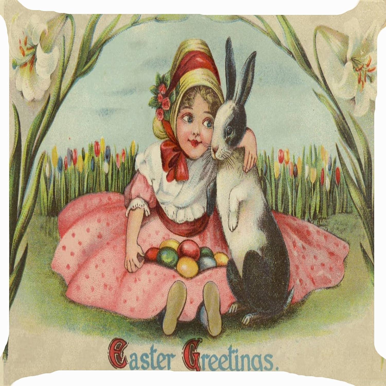 Cushion cover throw pillow case 18 inch girl hug Easter bunny rabbit candy eggs tulip flower garden joyful celebration both sides image zipper