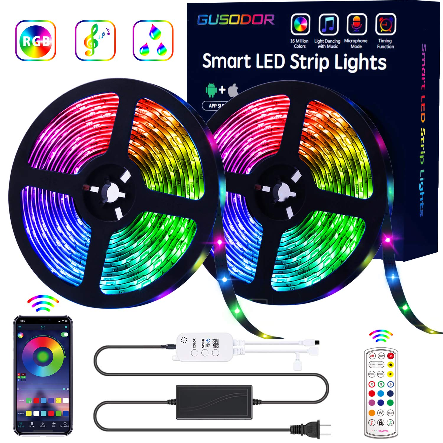 GUSODOR LED Strip Lights RGB Strips 32.8ft Waterproof Tape Light 300 LEDs SMD5050 Music Sync Color Changing +24Key…