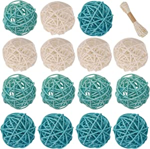 Lulonpon Wicker Rattan Balls Decorative Orbs Vase Fillers for Craft Project, 15pcs 2.36
